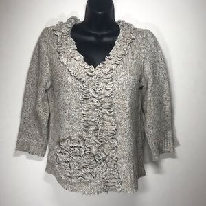 FEVER Ruffled Pullover V-Neck Sweater, Size Small